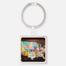 United States License Plate Map Square Keychain