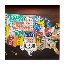 United States License Plate Map Tile Coaster