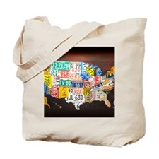 United States License Plate Map Tote Bag