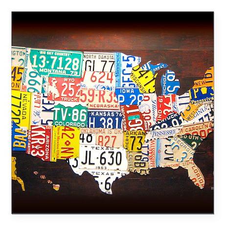 "United States License Pl Square Car Magnet 3"" x 3"""