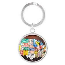 United States License Plate Map Round Keychain