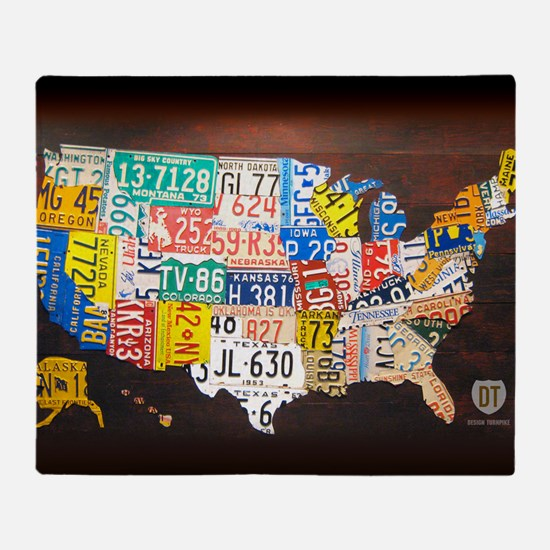 United States License Plate Map Throw Blanket