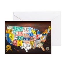 United States License Plate Map Greeting Card