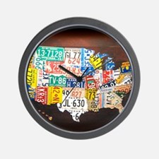 United States License Plate Map Wall Clock