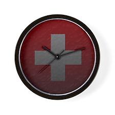 Worn/Wrinkled Swiss Flag Clock
