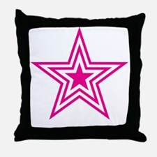 Pink Triple Star Throw Pillow