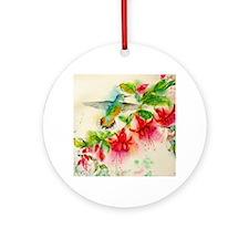 Hummingbirds in Fuschia Garden 2 Round Ornament