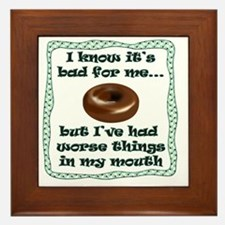I know its bad for me_donut_white Framed Tile
