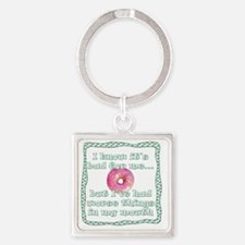 I know its bad for me_donut_black Square Keychain