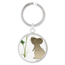 Cute mouse and lily art Round Keychain