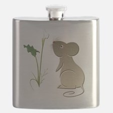 Cute mouse and lily art Flask