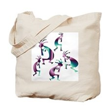Purple and Green Kokopelli Tote Bag