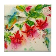 Hummingbirds in Fuschia Garden 2 Tile Coaster