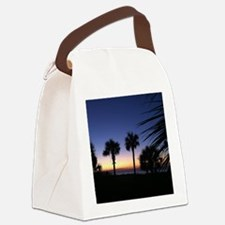 Tropical Beach Palm Tree Sunrise Canvas Lunch Bag