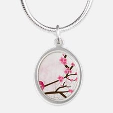 breastcancerawareness Silver Oval Necklace