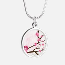 breastcancerawareness Silver Round Necklace