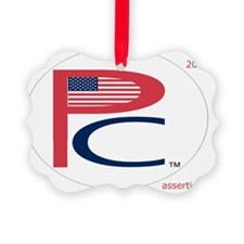 P  C, sm flag, on wht,7 copy-copy Ornament