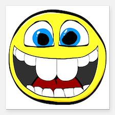 "Smilie1-Happy Square Car Magnet 3"" x 3"""