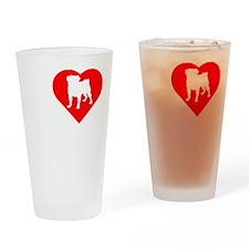 Pug-Dark Drinking Glass