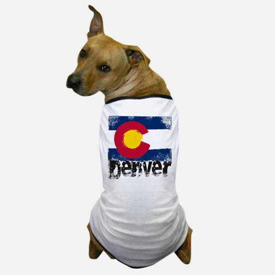 Denver Grunge Flag Dog T-Shirt