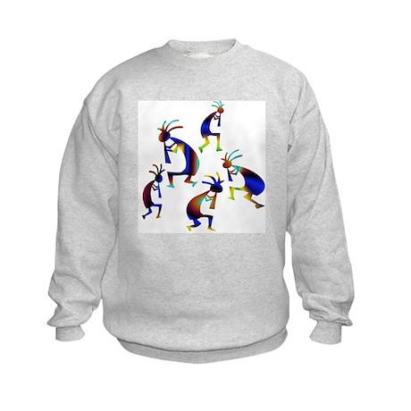 Metallic Blue Kokopelli Kids Sweatshirt