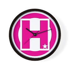 H Pink Wall Clock