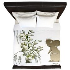 Lily of the Valley and Cute Mouse art King Duvet