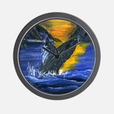 Whale at Sunset Wall Clock