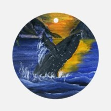 Whale at Sunset Round Ornament