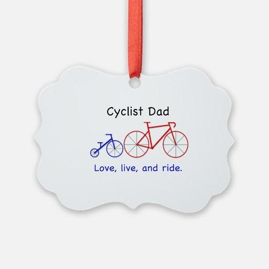 Cyclist Dad Logo 5 300 w: Cyclist Ornament