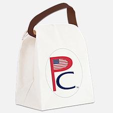 P  C, sm flag, on wht,7 copy-copy Canvas Lunch Bag
