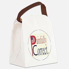 P  C, sm flag, on wht,5d,blue5-co Canvas Lunch Bag