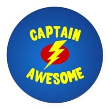 Captain Awesome Round Car Magnet