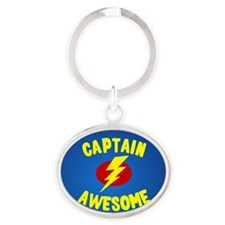 Captain Awesome Oval Keychain
