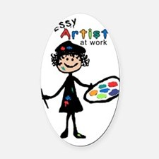 Messy Artist At Work Oval Car Magnet