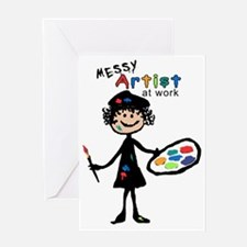 Messy Artist At Work Greeting Card