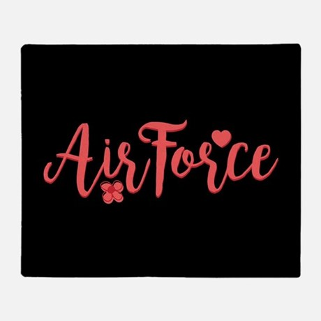 Air Force Girly Text Throw Blanket Throw Blanket