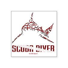 "BullShark DIVER 10x10 CLR Square Sticker 3"" x 3"""