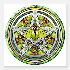 """Celtic Earth Dragon Pent Square Car Magnet 3"""" x 3"""""""