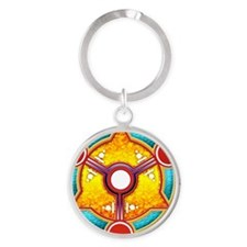 Double Moon Crop Circle Round Keychain