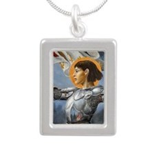 joan for journal Silver Portrait Necklace