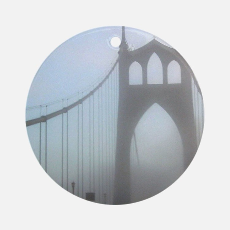 St Johns Bridge in fog 10 x 10 Round Ornament