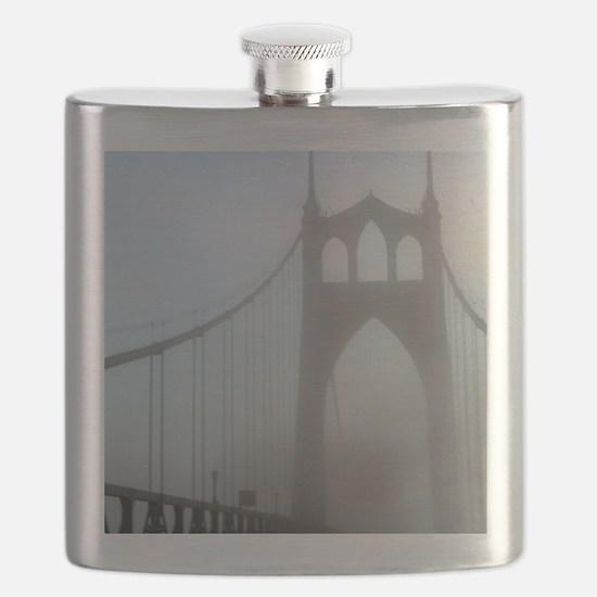 St Johns Bridge in fog 10 x 10 Flask