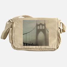 St Johns Bridge in fog 10 x 10 Messenger Bag