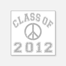 "CO2012 Peace Gray Distresse Square Sticker 3"" x 3"""