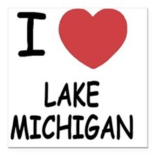 "LAKE_MICHIGAN Square Car Magnet 3"" x 3"""
