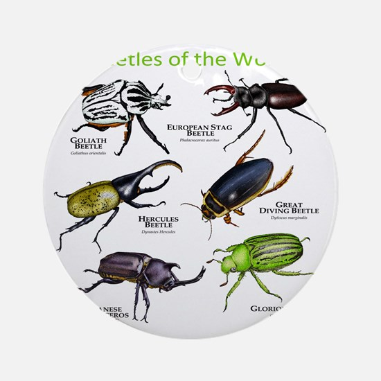 Beetles of the World Round Ornament