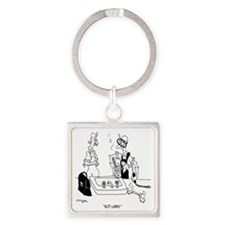 6439_lunch_cartoon Square Keychain