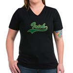 Irish Swoosh Green Women's V-Neck Dark T-Shirt