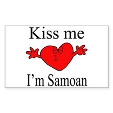 Kiss Me I'm Samoan Rectangle Decal